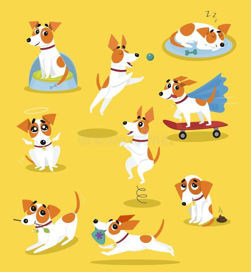 Sistema lindo del terrier de Russell del enchufe, carácter divertido del perro casero en diversos ejemplos del vector de la histo ilustración del vector