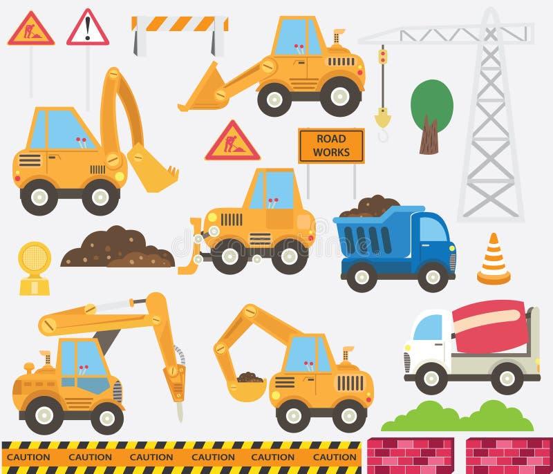 Sistema lindo del transporte de la construcción stock de ilustración