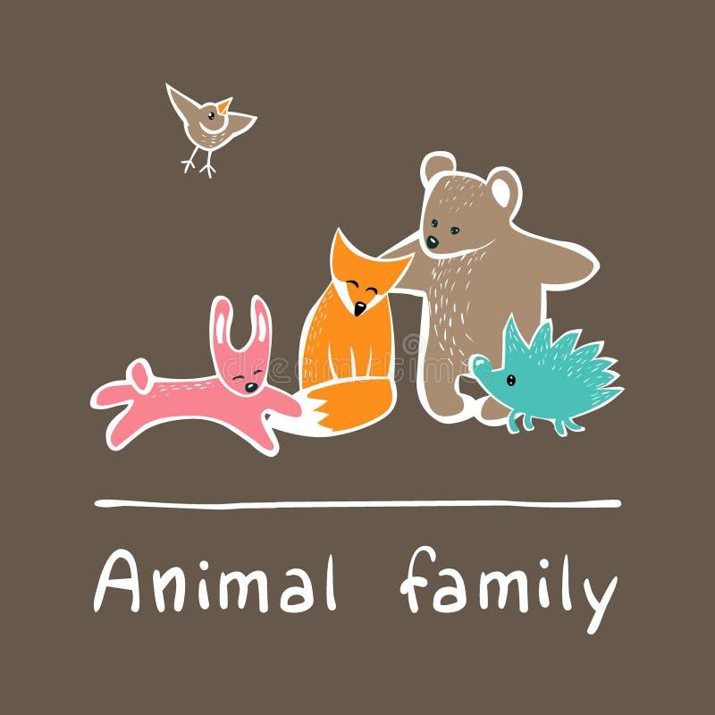 Sistema lindo del vector de los animales del bosque stock de ilustración