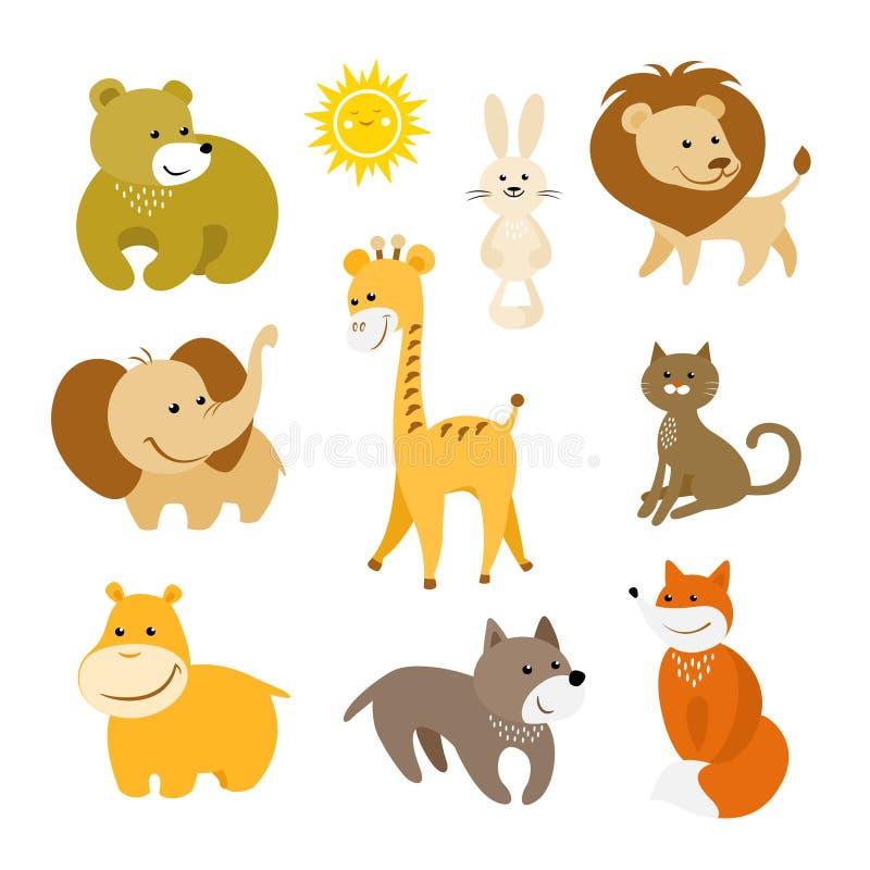 Sistema lindo del vector de los animales de la historieta ilustración del vector