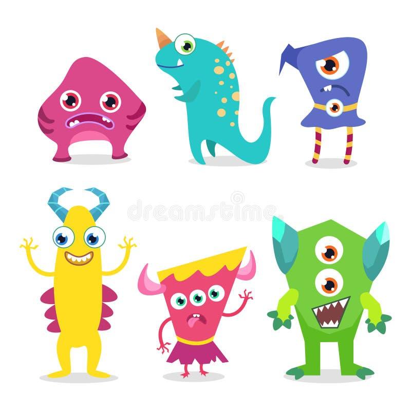 Sistema lindo del vector de los caracteres del monstruo libre illustration