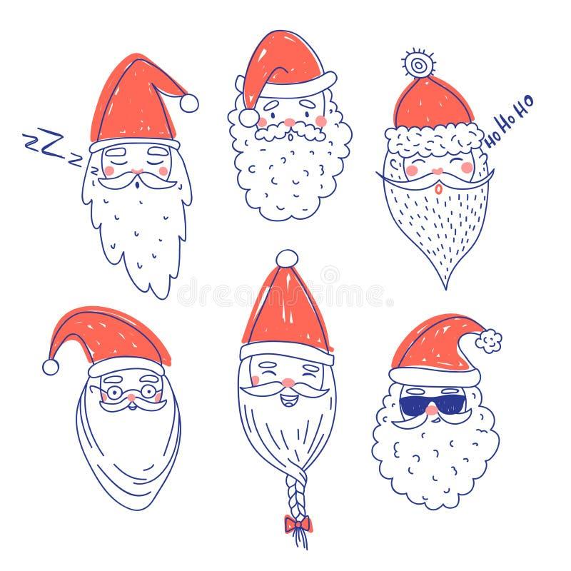 Sistema lindo del vector de Santa Clauses stock de ilustración