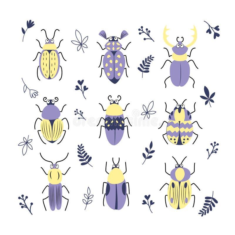 Sistema lindo del vector del decorativ de los diversos insectos, escarabajos, hojas y rama del garabato La colección del insecto  libre illustration