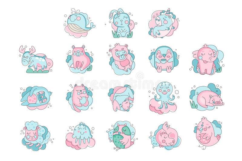 Sistema lindo el dormir de los animales del bebé de la historieta, ejemplo del vector del concepto de los sueños dulces libre illustration