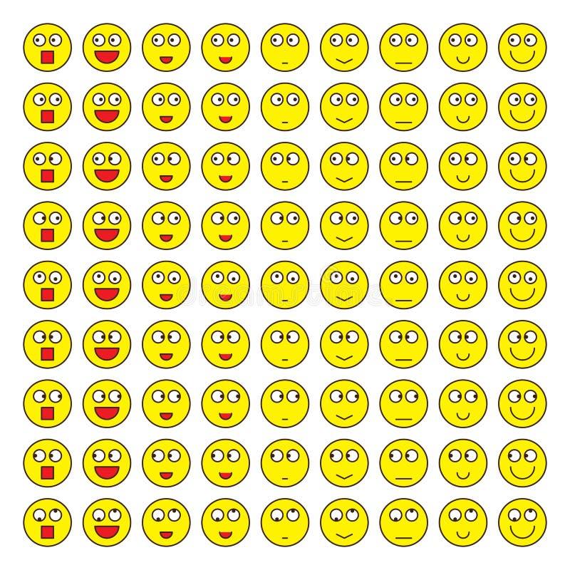 Sistema lindo enrrollado del omg lindo sonriente libre illustration