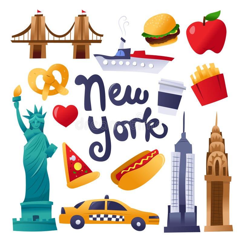 Sistema lindo estupendo de los iconos de la cultura de Nueva York ilustración del vector