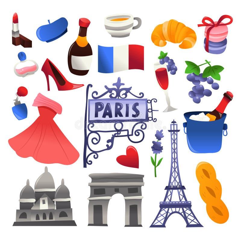 Sistema lindo estupendo de los iconos de la cultura de París ilustración del vector