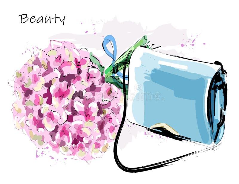 Sistema lindo exhausto de la mano con el bolso y las flores de la moda Hydrangea hermoso Bolso femenino elegante bosquejo ilustración del vector