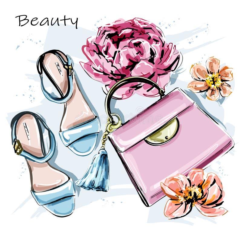 Sistema lindo exhausto de la mano con los accesorios elegantes Zapatos de la moda, bolso rosado y flores bosquejo ilustración del vector