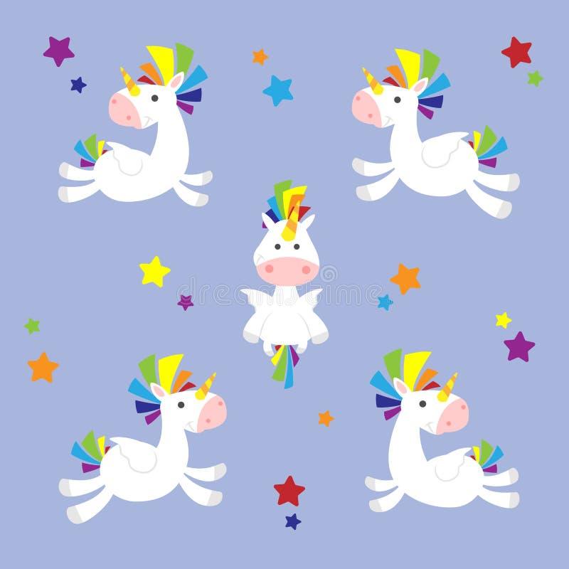 Sistema lindo feliz del ejemplo del unicornio stock de ilustración