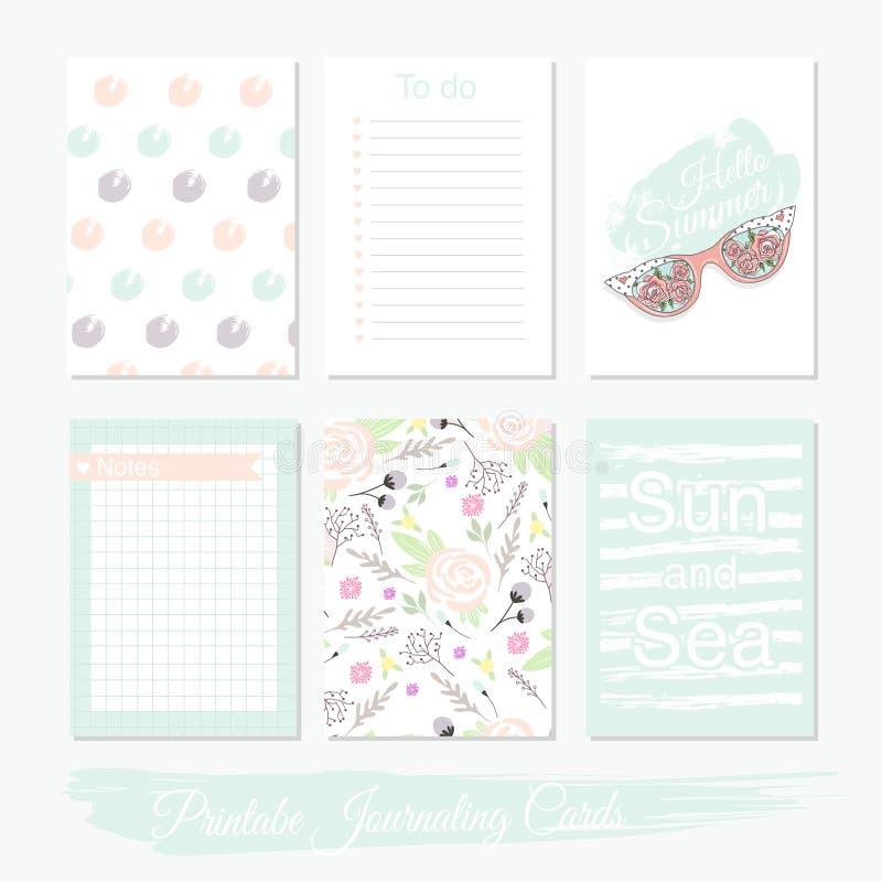 Sistema lindo imprimible de tarjetas del llenador con las flores, gafas de sol ilustración del vector