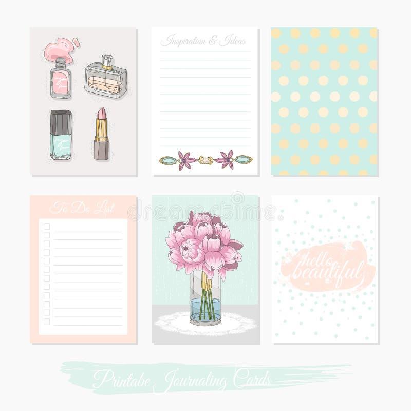 Sistema lindo imprimible de tarjetas del llenador con las flores, maquillaje, joyería libre illustration