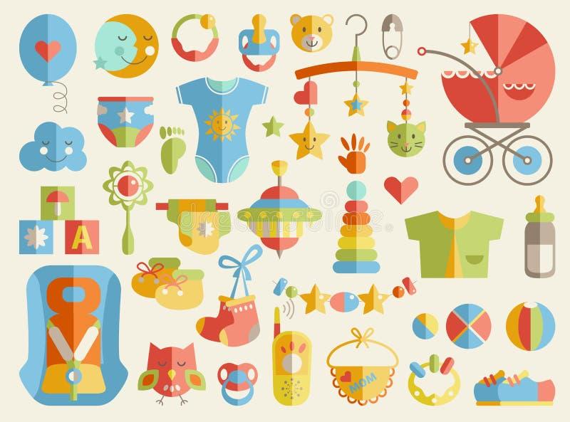 Sistema lindo temático del plano del niño recién nacido Cuidado del bebé, alimentando, clothin stock de ilustración