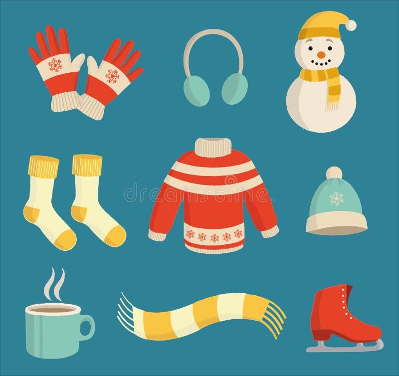 Sistema lindo y colorido del esencial del invierno libre illustration