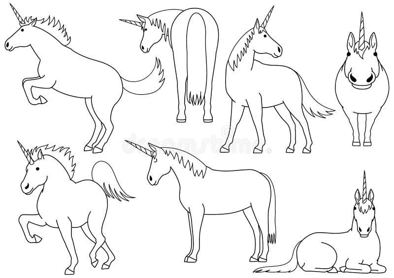 Sistema lindo y simple del dibujo del garabato del unicornio libre illustration
