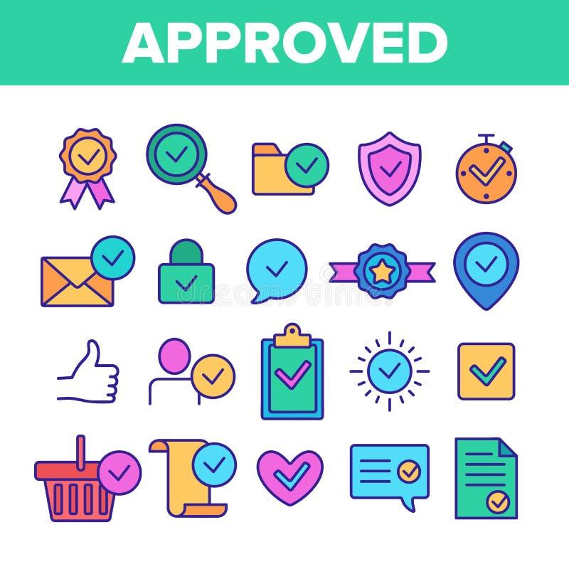 Sistema linear aprobado y certificado del color del vector de los iconos stock de ilustración