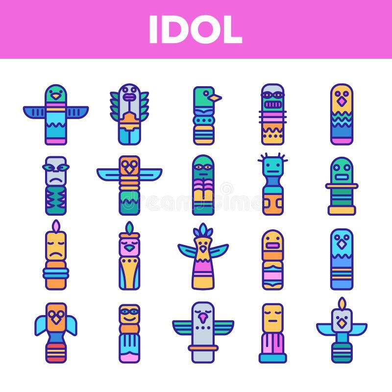 Sistema linear de los iconos del vector antiguo tribal de los ?dolos stock de ilustración