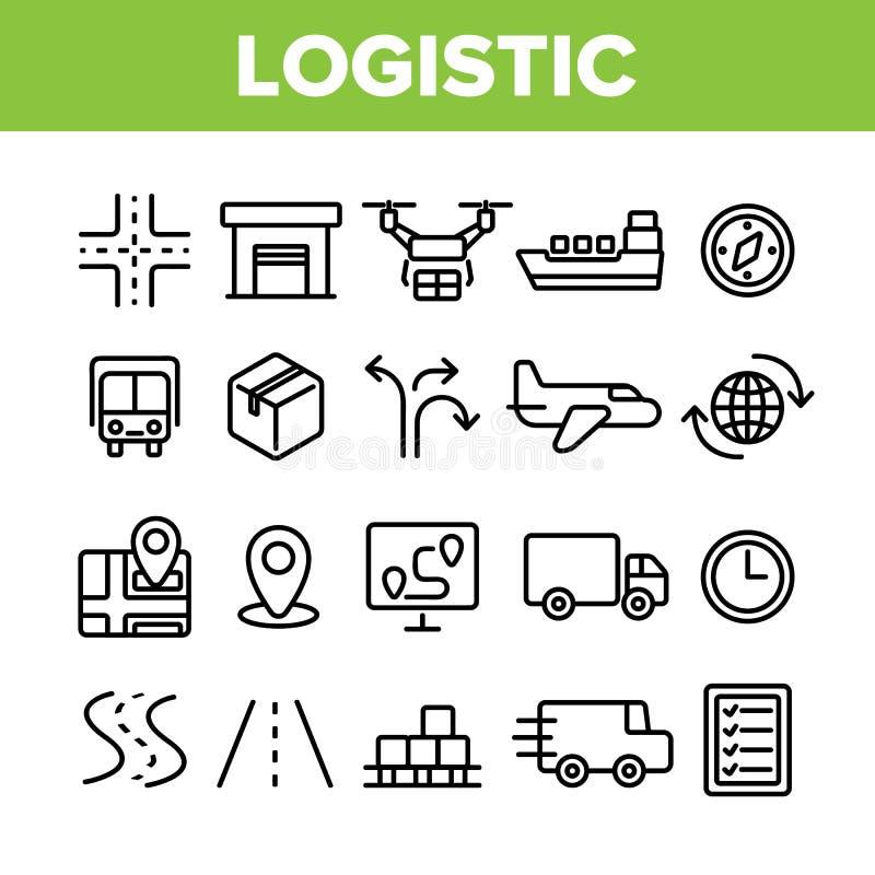 Sistema linear de los iconos del vector del departamento log?stico global libre illustration