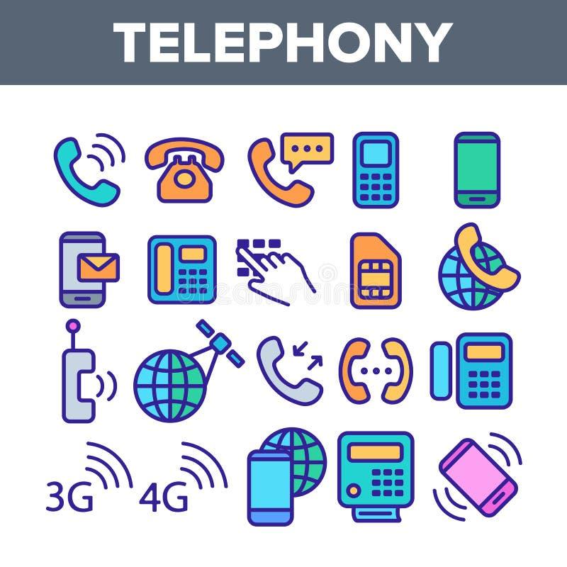 Sistema linear de los iconos del vector del sistema global de la telefonía ilustración del vector