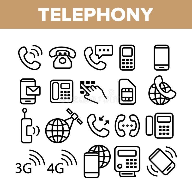 Sistema linear de los iconos del vector del sistema global de la telefon?a libre illustration