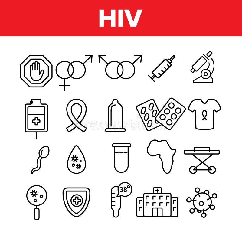 Sistema linear de los iconos del vector de la conciencia del VIH y de las AYUDAS ilustración del vector