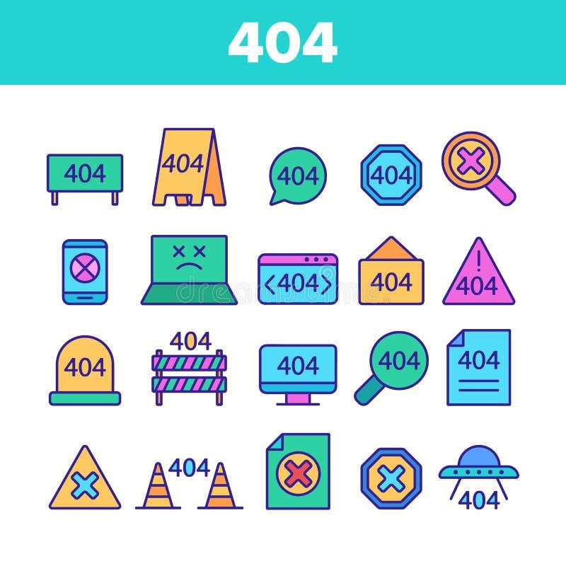 Sistema linear de los iconos del vector del mensaje de error del color 404 HTTP ilustración del vector