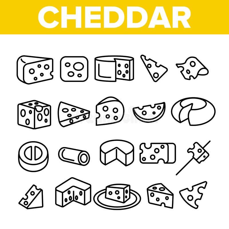Sistema linear de los iconos del vector del queso cheddar stock de ilustración