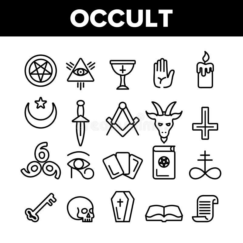 Sistema linear de los iconos de la entidad del vector oculto, demoníaco de las imágenes ilustración del vector