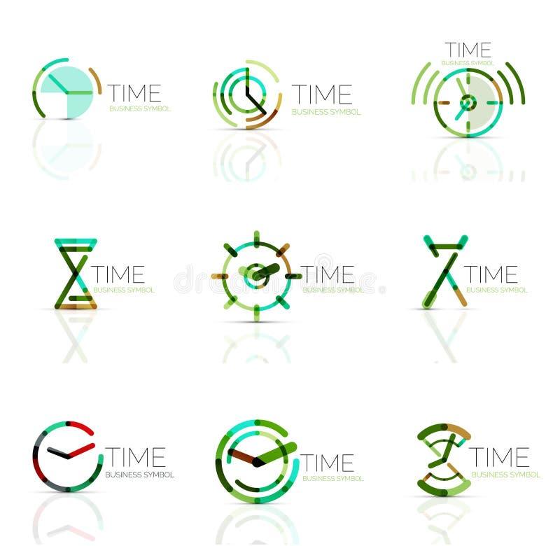 Sistema linear del logotipo del extracto del tiempo, segmentos multicolores conectados stock de ilustración
