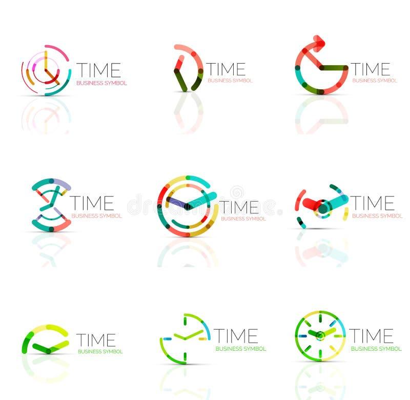 Sistema linear del logotipo del extracto del tiempo, segmentos multicolores conectados ilustración del vector