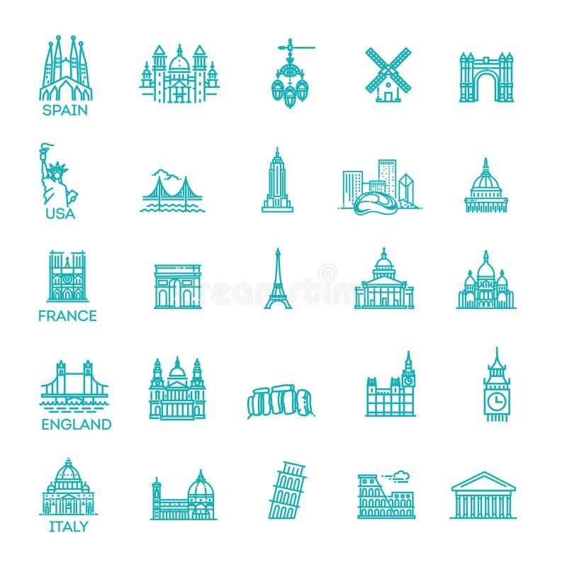 Sistema linear simple del icono del vector que representa las señales y los destinos turísticos globales del viaje por vacaciones ilustración del vector