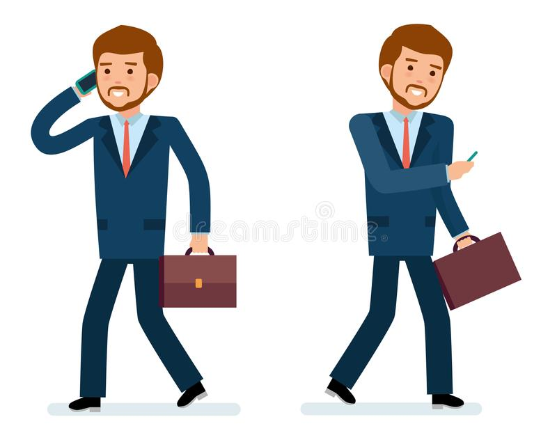Sistema listo para utilizar de la creación del carácter Hombre de negocios que habla en el teléfono libre illustration