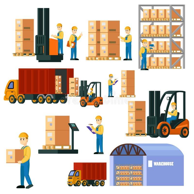 Sistema logístico colorido de Warehouse ilustración del vector