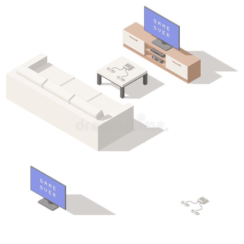 Sistema lowpoly isométrico del icono de la consola del videojuego stock de ilustración