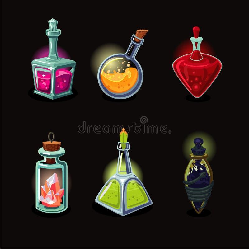Sistema mágico de la botella Iconos del vector del diseño de juego fijados Estilo de la historieta ilustración del vector