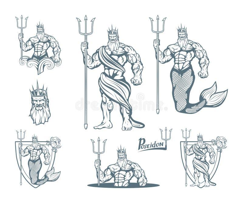 Sistema mágico de Neptuno poseidon Mundo de la fantasía Poseidon dibujado mano Cabeza de Neptuno ilustración del vector