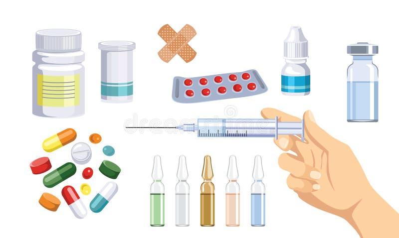 Sistema médico de la atención sanitaria Ejemplo del vector de medicinas y de drogas en estilo plano de la historieta ilustración del vector