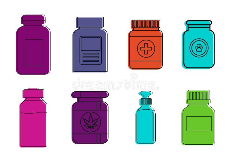 Sistema médico del icono de la botella, estilo del esquema del color ilustración del vector
