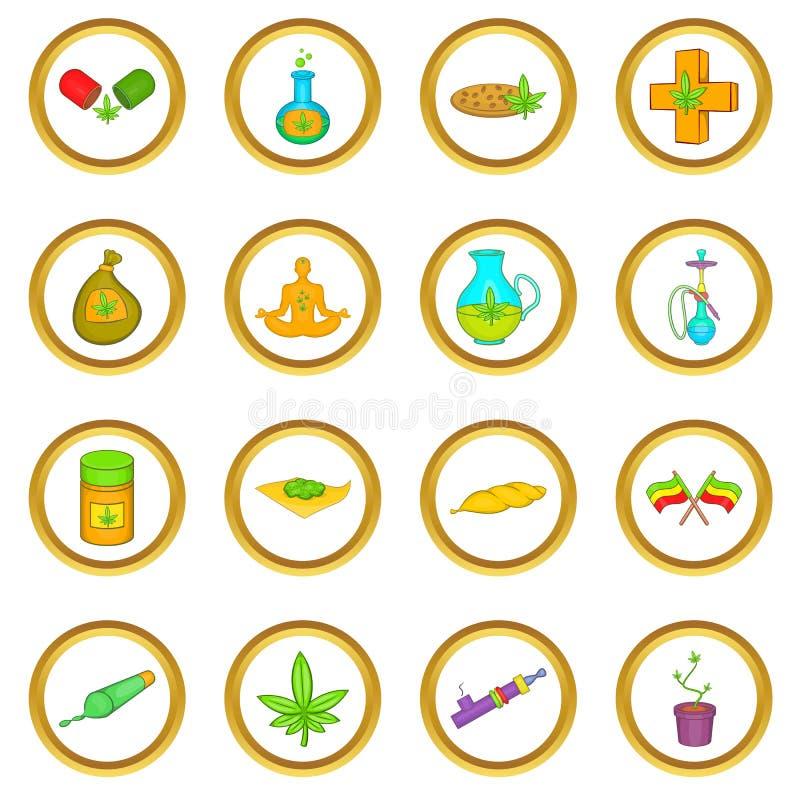 Sistema médico del vector de la marijuana, estilo de la historieta libre illustration