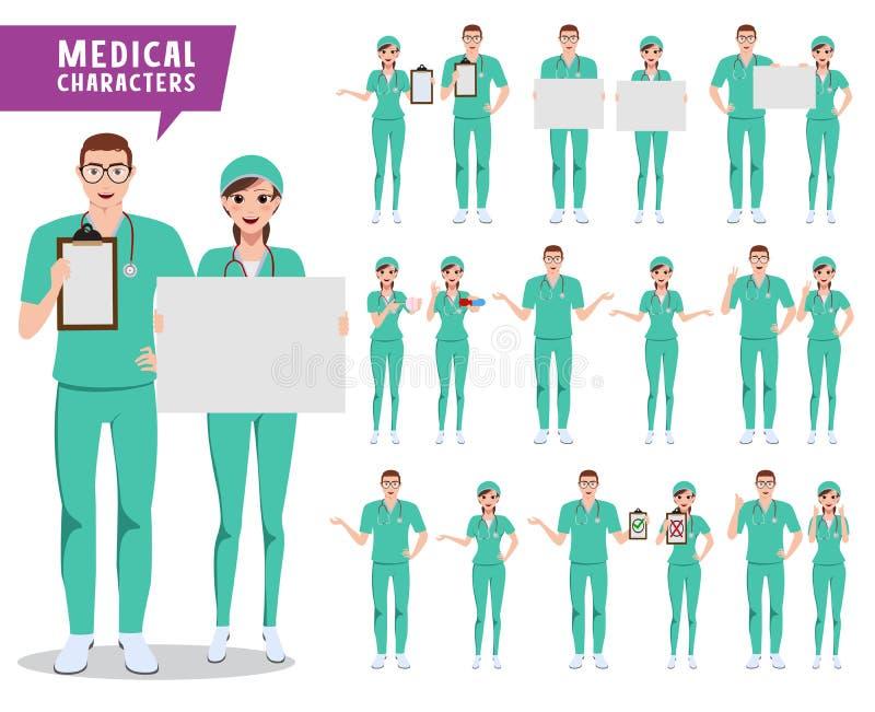 Sistema médico del vector de los caracteres Doctor, enfermera y personal médico llevando a cabo al tablero blanco ilustración del vector