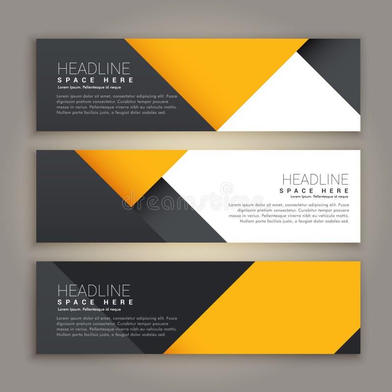 Sistema mínimo amarillo y negro del estilo de banderas del web stock de ilustración