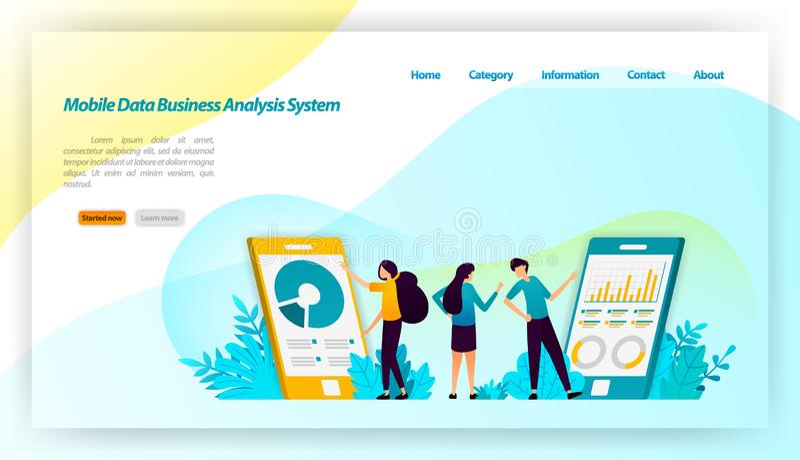Sistema móvel do analista do negócio dos dados para aplicações com projeto isométrico financeiro e do negócio conceito FO da ilus ilustração stock