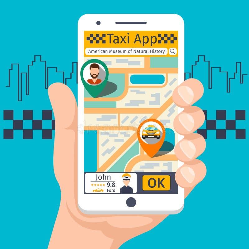 Sistema móvil de la plantilla del app del taxi ilustración del vector