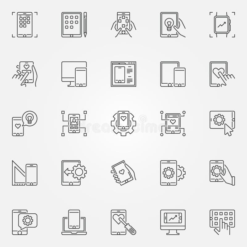 Sistema móvil de los iconos del concepto del esquema del vector del desarrollo del app libre illustration