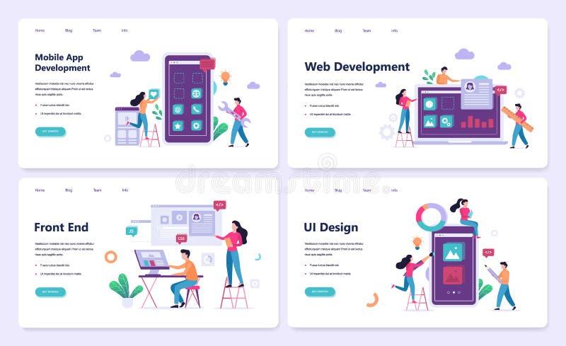 Sistema móvil del concepto de la bandera del app y del desarrollo web stock de ilustración