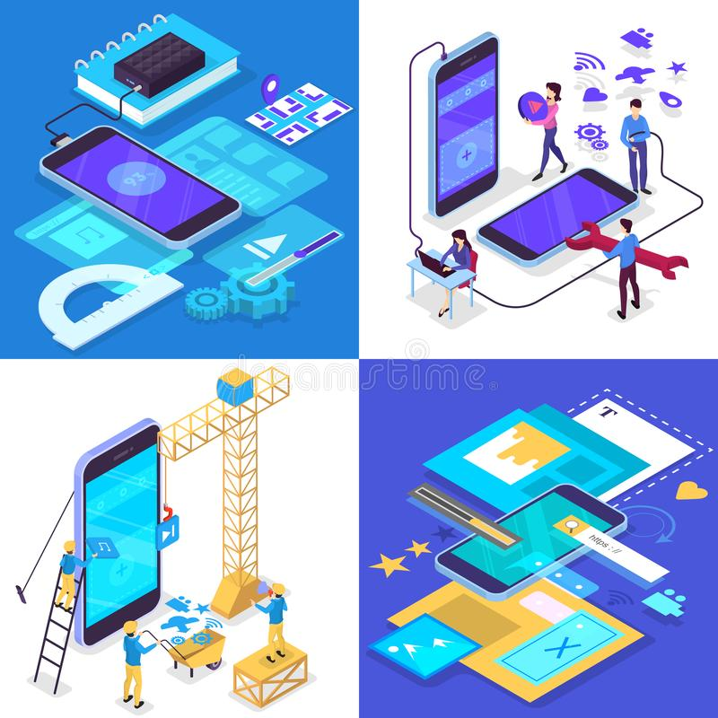Sistema móvil del concepto del desarrollo del app Tecnología y smartphone modernos libre illustration