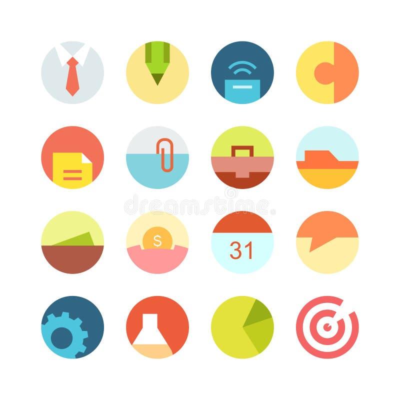 Sistema macro plano del icono del negocio en el fondo coloreado ilustración del vector