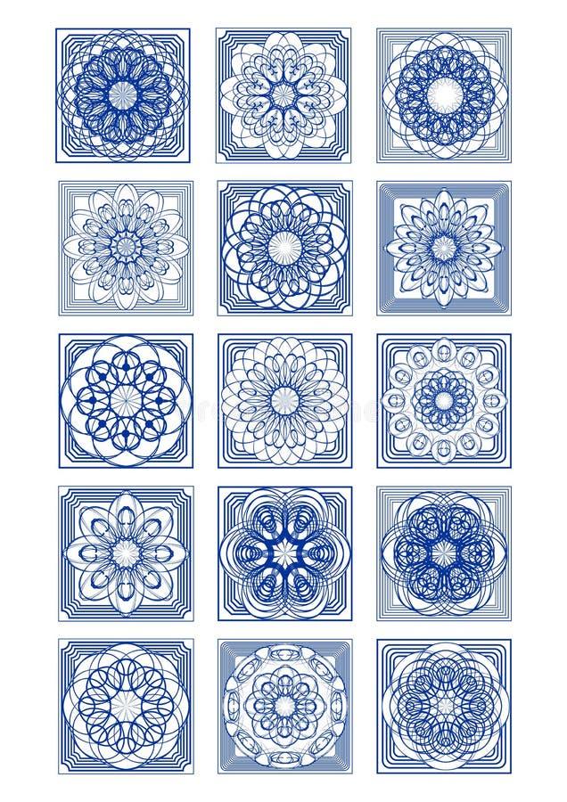 Sistema magnífico de la teja del azulejo, diseño portugués clásico del vintage, decoración ornamental rica libre illustration