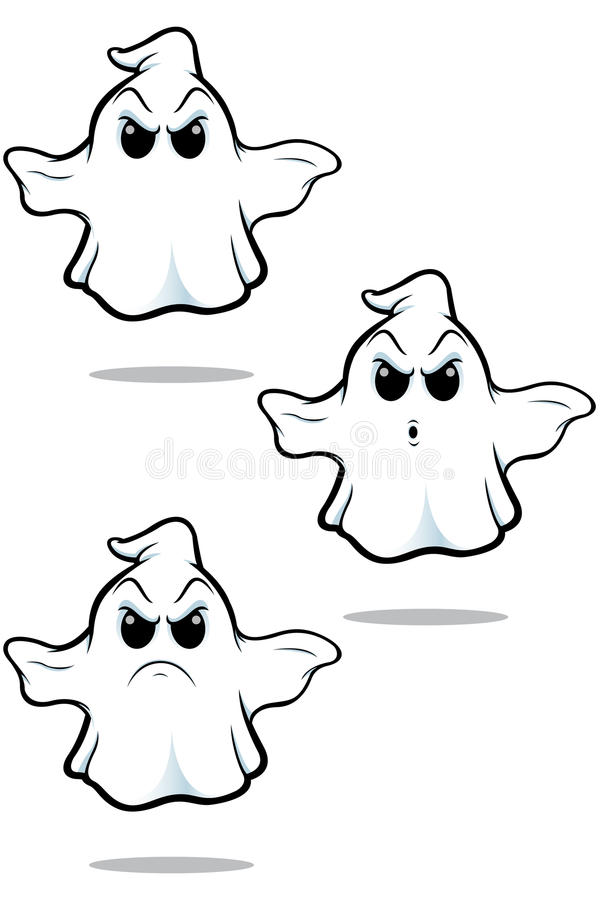 Sistema malo del fantasma de la historieta stock de ilustración