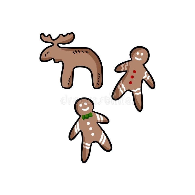 Sistema a mano de galletas coloridas de la Navidad Garabatos de la historieta del vector Objetos aislados en un fondo blanco Pane libre illustration